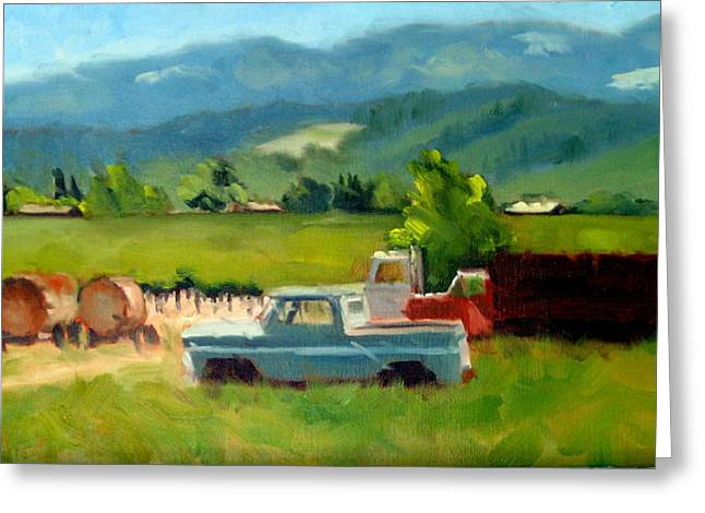 Calistoga Paintings Greeting Cards - Trucks with a View Greeting Card by Char Wood