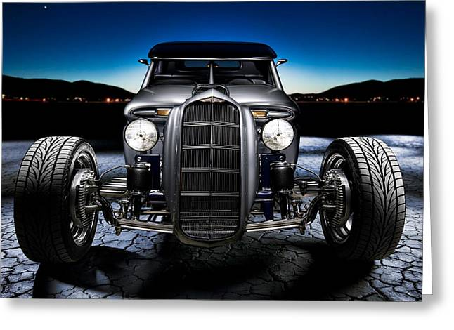 Headlight Greeting Cards - Millers Chop Shop 1964 Truckster Frontend Greeting Card by Yo Pedro