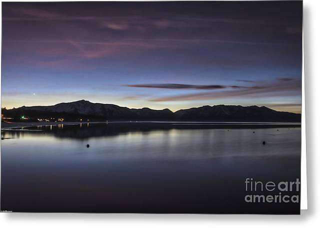 Dusk By The Lake Greeting Cards - True Blue Greeting Card by Mitch Shindelbower