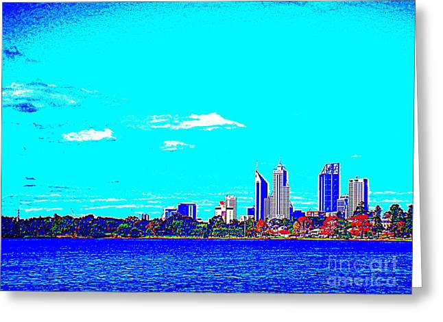 Monger Greeting Cards - True Blue Perth Skyline from Lake Monger Greeting Card by Roberto Gagliardi