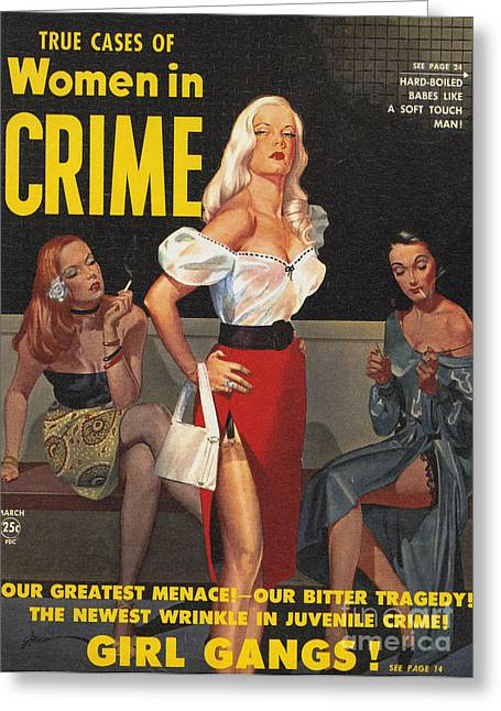 Twentieth Century Greeting Cards - True Cases Of Women In Crime 1950 Greeting Card by The Advertising Archives
