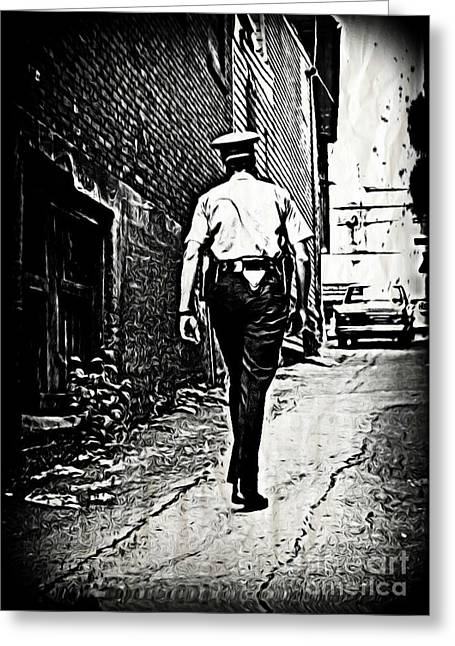 Police Officer Greeting Cards - True Grit Greeting Card by John Malone