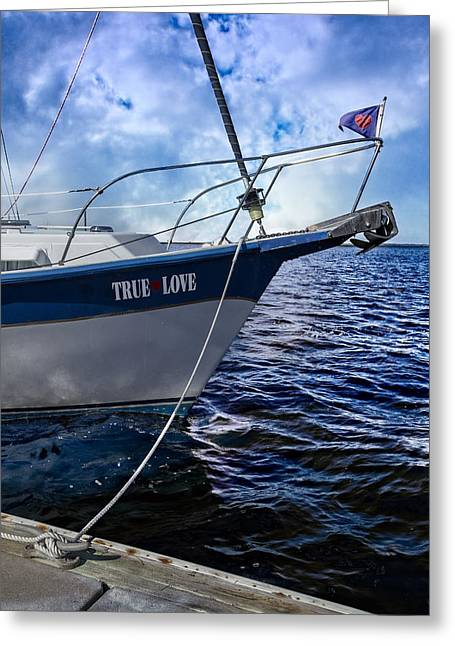 Boats At Dock Greeting Cards - True Love Greeting Card by Debra and Dave Vanderlaan