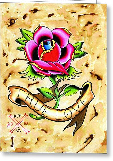 Tattoo Flash Greeting Cards - True Love Greeting Card by Kev G