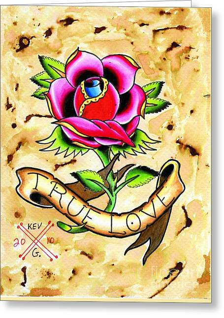 Tattoo Flash Paintings Greeting Cards - True Love Greeting Card by Kev G