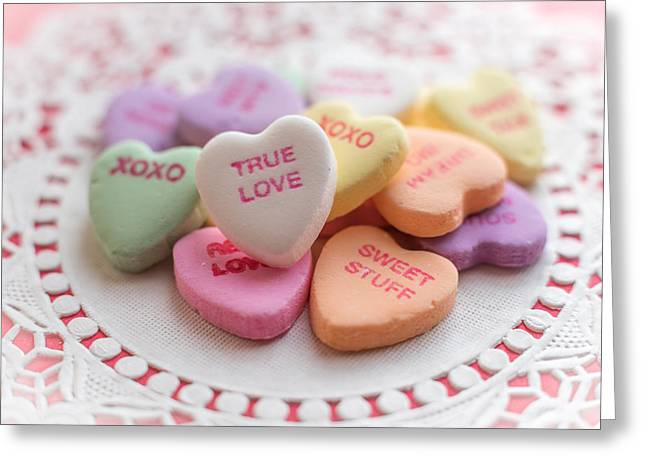 Bathroom Prints Greeting Cards - True Love Valentine Candy Hearts Greeting Card by Terry DeLuco