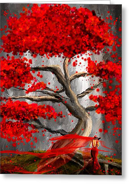 True Love Waits - Red And Gray Art Greeting Card by Lourry Legarde