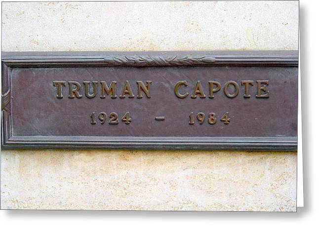 Capote Greeting Cards - Truman Capote Grave Greeting Card by Jeff Lowe