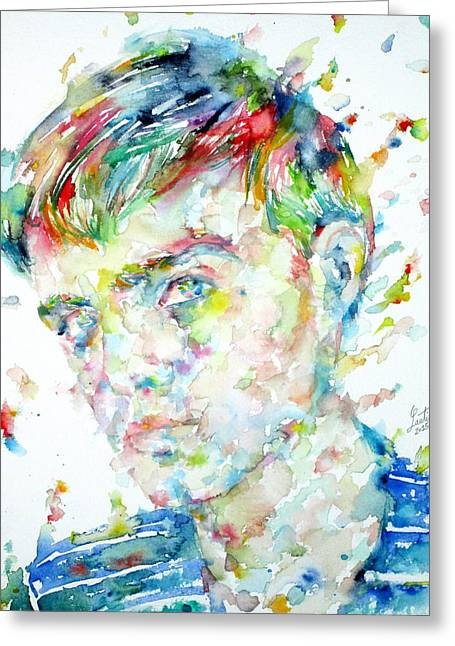 Capote Greeting Cards - TRUMAN CAPOTE - watercolor portrait Greeting Card by Fabrizio Cassetta