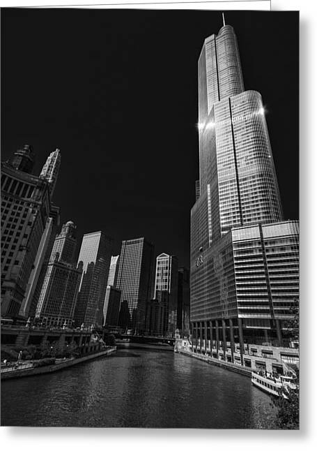 Magnificent Mile Greeting Cards - Trump Hotel and Chicago River Greeting Card by Tom Gort
