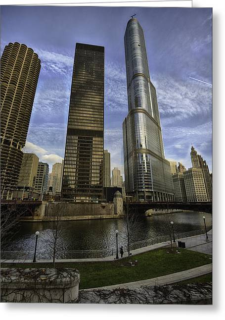 Hdr Photographs Greeting Cards - Trump Tower and River Front Greeting Card by Sebastian Musial