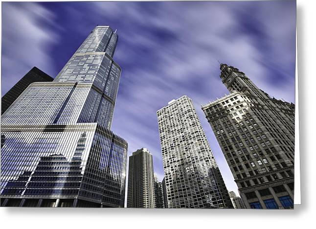 Chicago Photographs Greeting Cards - Trump Tower and Wrigley Building Greeting Card by Sebastian Musial