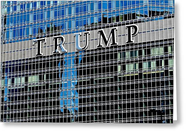 Ostentatious Greeting Cards - Trump Tower Marquee Greeting Card by Frozen in Time Fine Art Photography