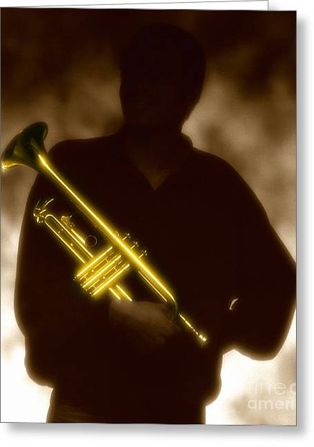 Brown Tone Greeting Cards - Trumpet 1 Greeting Card by Tony Cordoza