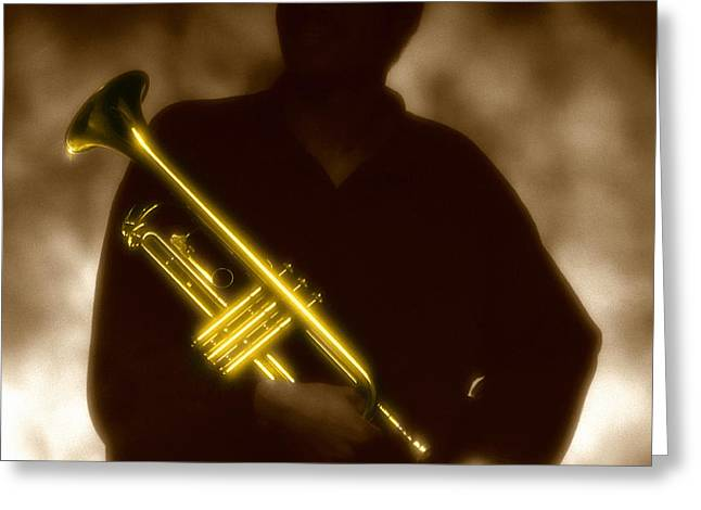 Trumpet 1 Greeting Card by Tony Cordoza