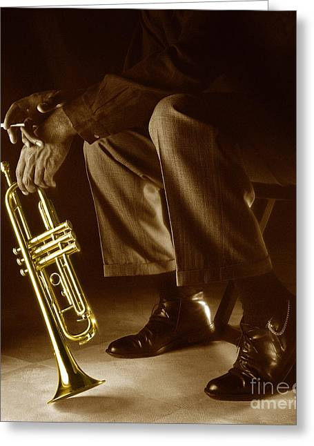 Trumpet 2 Greeting Card by Tony Cordoza