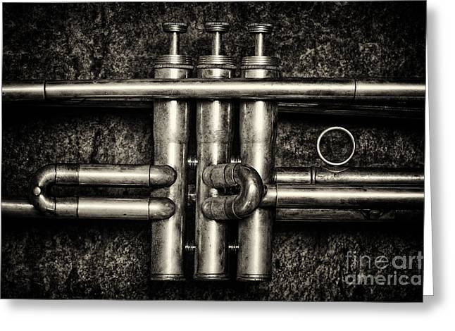 Slates Greeting Cards - Trumpet Abstract Greeting Card by Tim Gainey