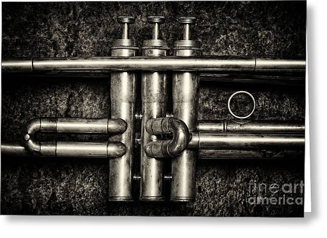 Trumpet Greeting Cards - Trumpet Abstract Greeting Card by Tim Gainey