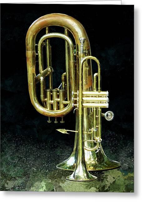 Trumpet And Tuba Greeting Card by Susan Savad