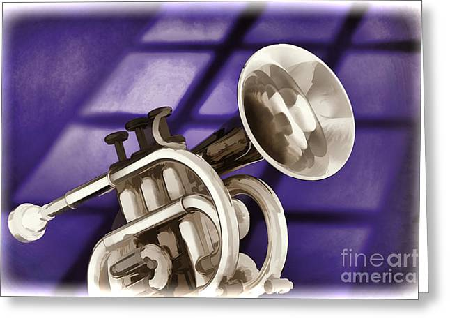 Marching Band Greeting Cards - Trumpet Cornet Painting in Colors Purple Blue 3149.02 Greeting Card by M K  Miller