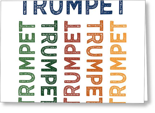 Trumpet Cute Colorful Greeting Card by Flo Karp