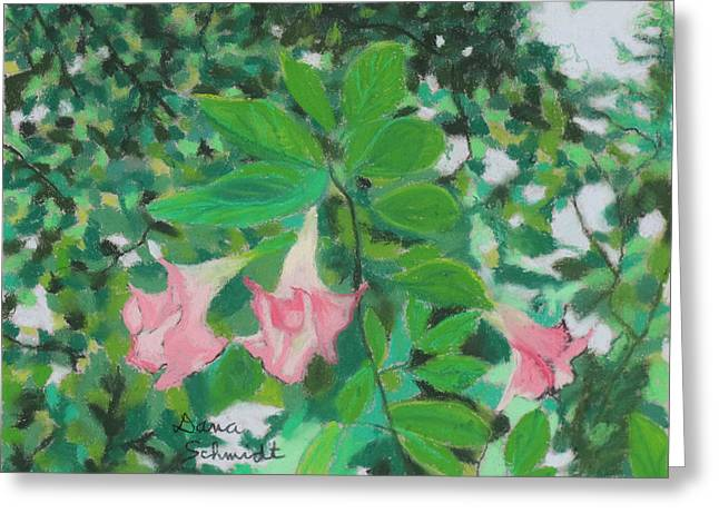 Florida Flowers Pastels Greeting Cards - Trumpet Flower Tree Greeting Card by Dana Schmidt