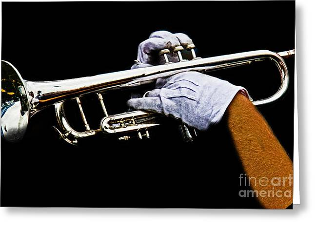 Glove Greeting Cards - Trumpet Greeting Card by Tom Gari Gallery-Three-Photography