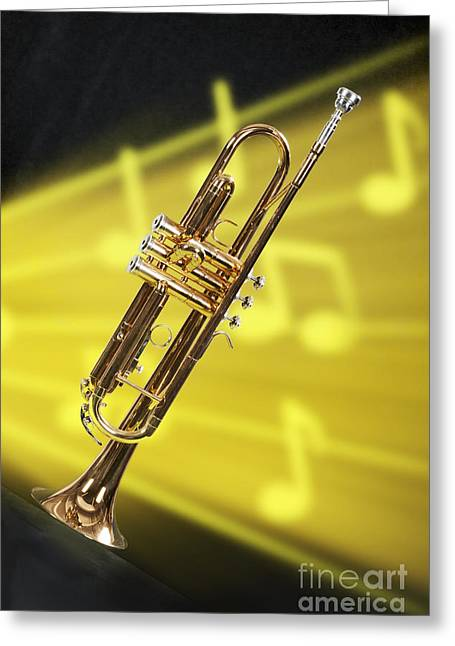 Marching Band Greeting Cards - Trumpet in Music Storm in Color 3203.02 Greeting Card by M K  Miller