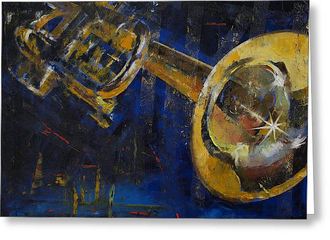 Musica Greeting Cards - Trumpet Greeting Card by Michael Creese