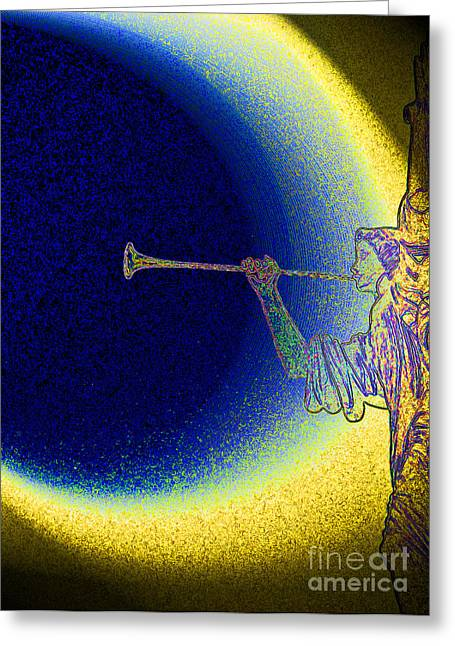 Trumpet Moon Greeting Card by First Star Art