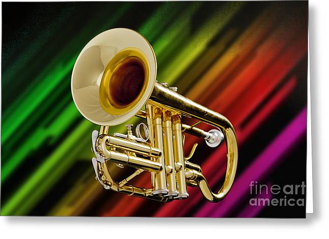 Marching Band Greeting Cards - Trumpet Music Instrument Picture in Color 3224.02 Greeting Card by M K  Miller
