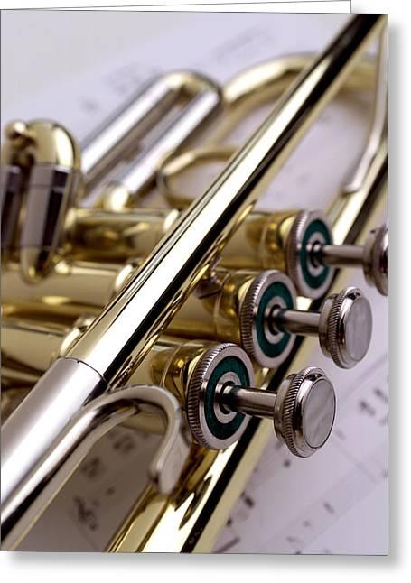 Horns Greeting Cards - Trumpet on Music II Greeting Card by Jon Neidert