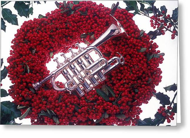 December 25th Greeting Cards - Trumpet on red berry wreath Greeting Card by Garry Gay