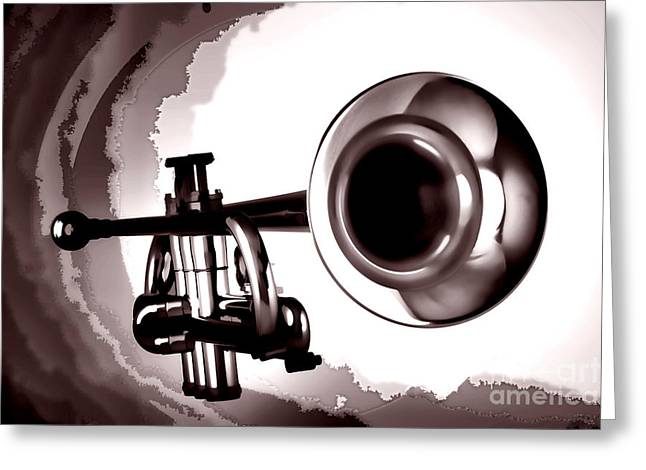 Marching Band Greeting Cards - Trumpet Painting in Black and white sepia 3148.01 Greeting Card by M K  Miller