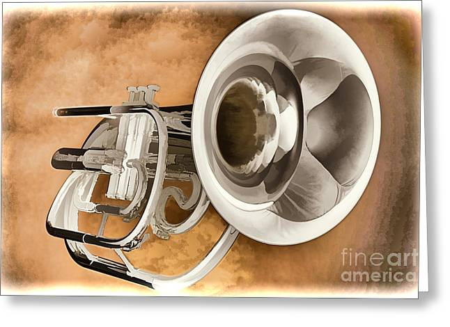 Marching Band Greeting Cards - Trumpet Painting in Color 3147.02 Greeting Card by M K  Miller