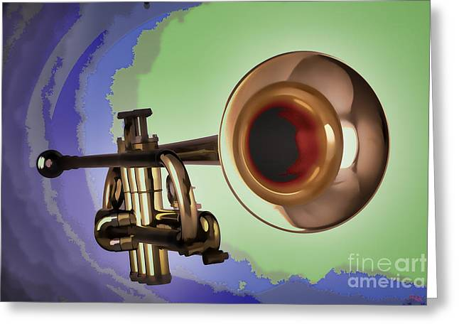 Marching Band Greeting Cards - Trumpet Painting in Color Blue Gold Green 3148.02 Greeting Card by M K  Miller