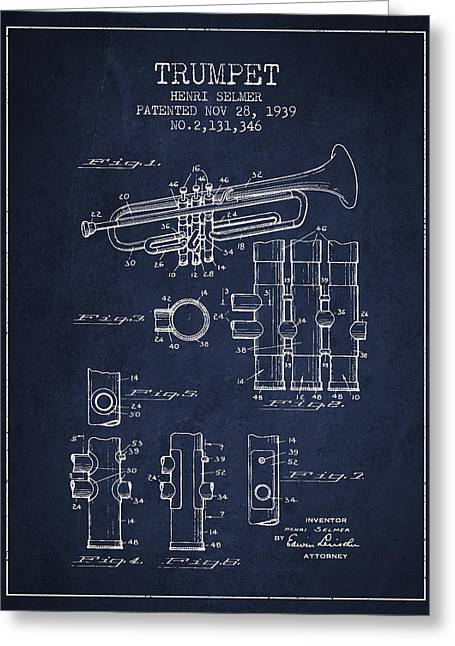 Trumpet Greeting Cards - Trumpet Patent from 1939 - Blue Greeting Card by Aged Pixel