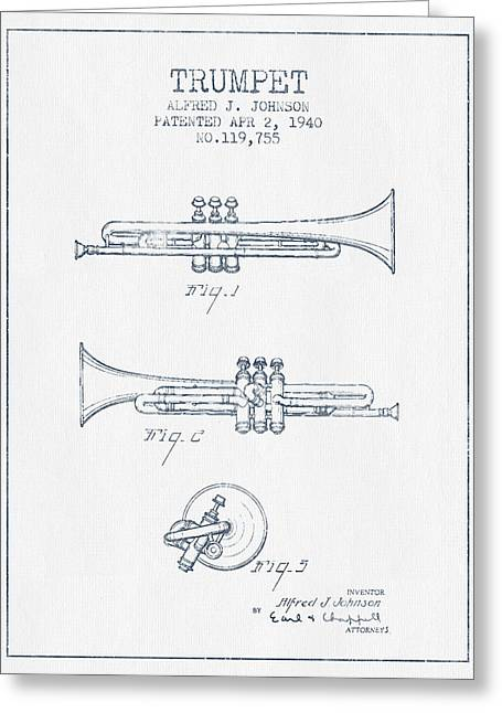 Trumpet Greeting Cards - Trumpet Patent from 1940 - Blue Ink Greeting Card by Aged Pixel