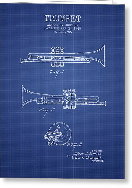 Trumpet Digital Greeting Cards - Trumpet Patent from 1940 - Blueprint Greeting Card by Aged Pixel
