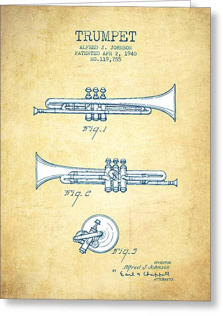 Trumpet Digital Greeting Cards - Trumpet Patent from 1940 - Vintage Paper Greeting Card by Aged Pixel