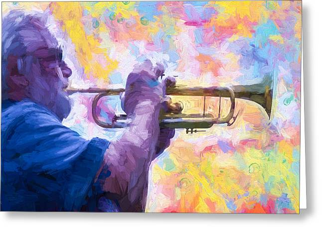 Bob Orsillo Mixed Media Greeting Cards - Trumpet Player Greeting Card by Bob Orsillo