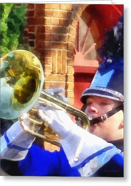 Trumpets Greeting Cards - Trumpet Player in Marching Band Greeting Card by Susan Savad