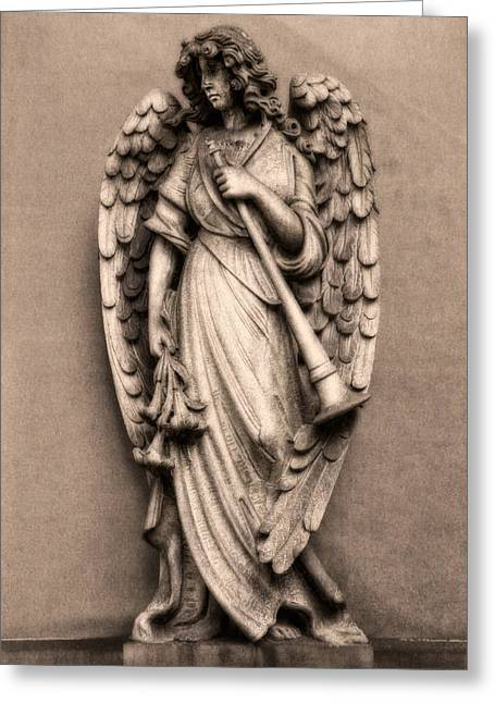 Grave Greeting Cards - Trumpeter Angel Greeting Card by Tom Mc Nemar