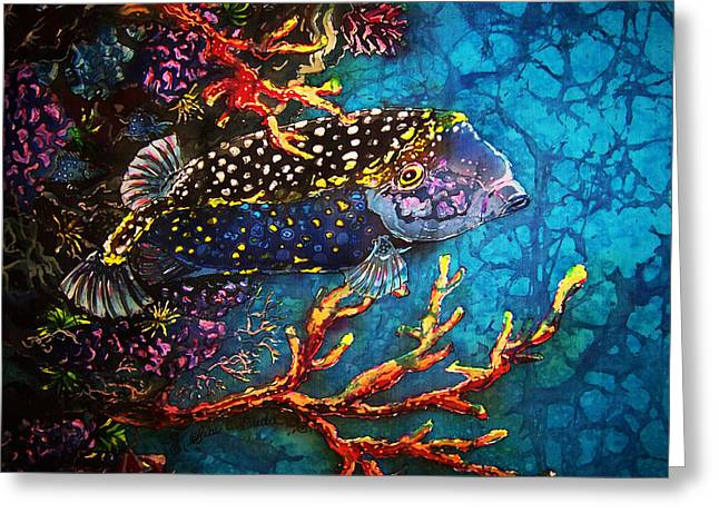 Marine Fish Tapestries - Textiles Greeting Cards - Trunkfish - Male Greeting Card by Sue Duda