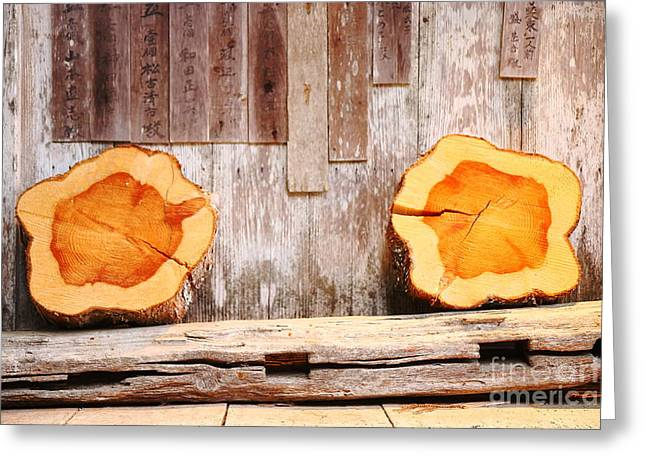 """""""japan House"""" Greeting Cards - Trunks in the wall Greeting Card by Eva Ozkoidi"""