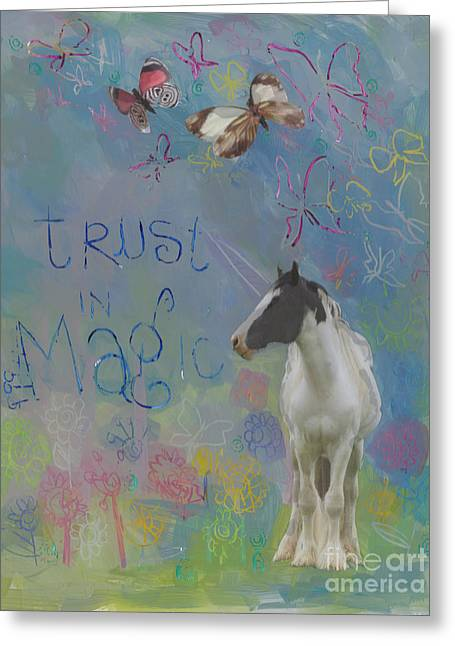 Landscape Mixed Media Greeting Cards - Trust in Magic Greeting Card by Kimberly Santini