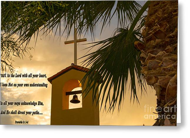 Steeple Mixed Media Greeting Cards - Trust in The Lord Greeting Card by Beverly Guilliams