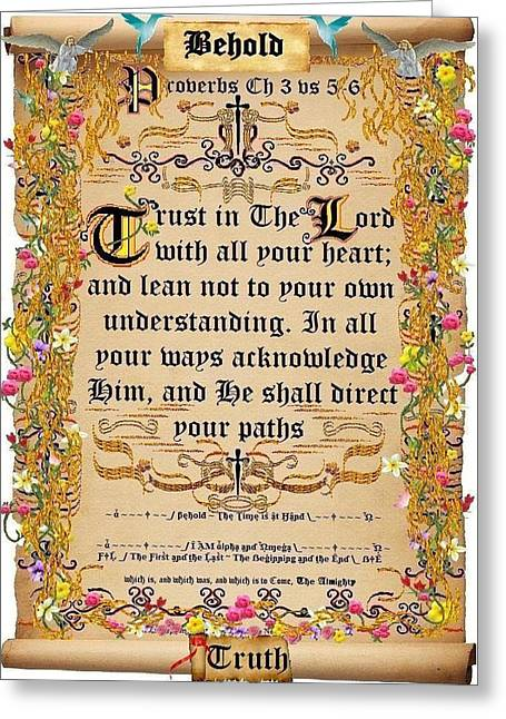 Calligraphy Print Digital Art Greeting Cards - Trust in The Lord Parchment Greeting Card by Stephen Kovacs