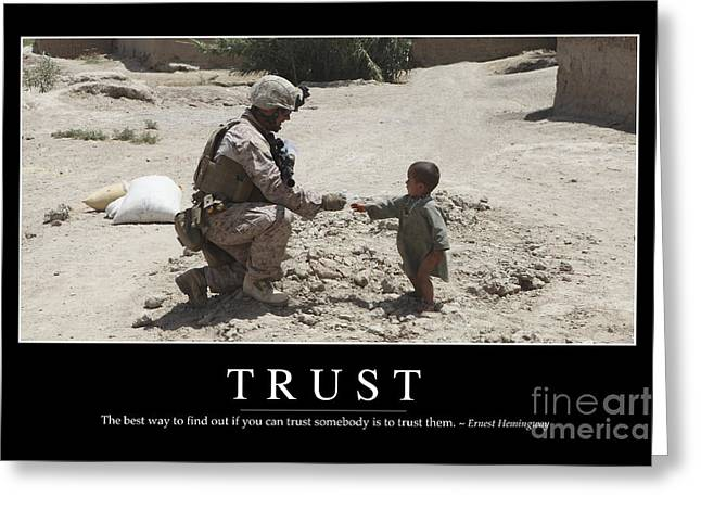 Toddlers Poster Greeting Cards - Trust Inspirational Quote Greeting Card by Stocktrek Images