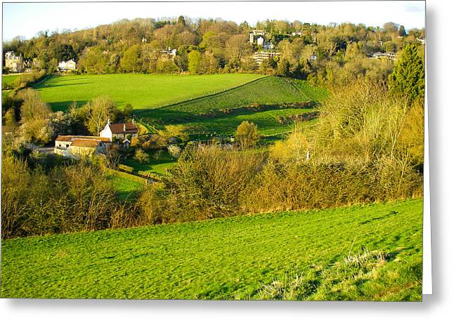 Geobob Greeting Cards - Trust Land Pastures and English Landscape Views near Bath Somerset England Greeting Card by Robert Ford